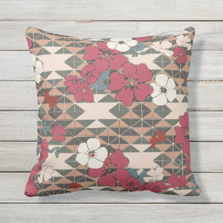 Prairie Rose Navajo pattern in pink and brown Outdoor Cushion