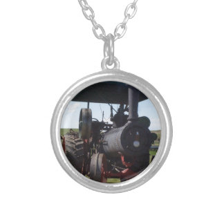 Prairie Steam Tractor Silver Plated Necklace