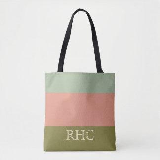 Prairie Summer Palette Stripe Monogram Tote Bag