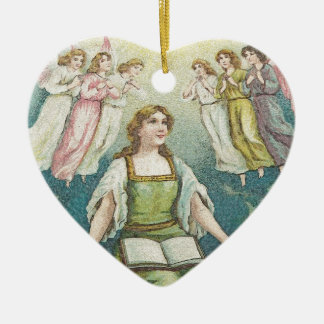 Praise - A women praising God Ceramic Heart Decoration