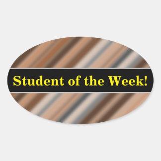 Praise + Blurry Rustic Inspired Stripes Pattern Oval Sticker