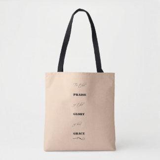 """Praise-Glory-Grace"" Feminine Pink Tote Bag"