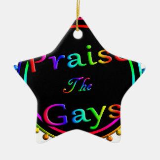 Praise the gays ceramic ornament
