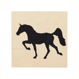 Prancing Arabian Horse Silhouette Wood Print