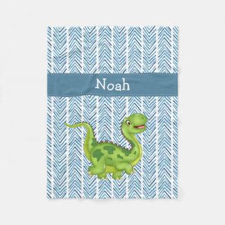Prancing Dinosaur with Child's Name Fleece Blanket