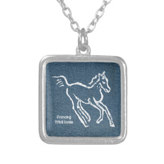 Prancing Wild Horsie Square Silver Plated Necklace
