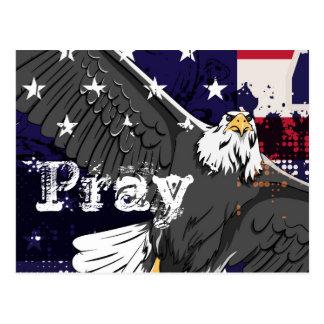 Pray - American Flag and Eagle Postcard