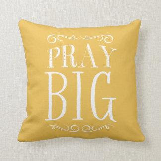 Pray Big Yellow Accent Pillow