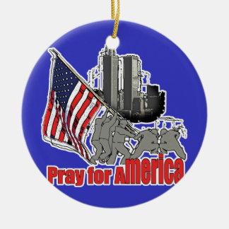 Pray for america ceramic ornament
