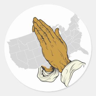 Pray For America Classic Round Sticker