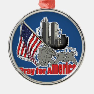 Pray for america metal ornament