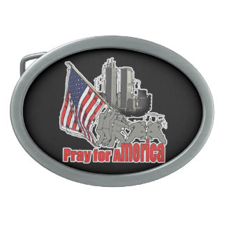 Pray for america oval belt buckle