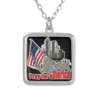 Pray for america silver plated necklace