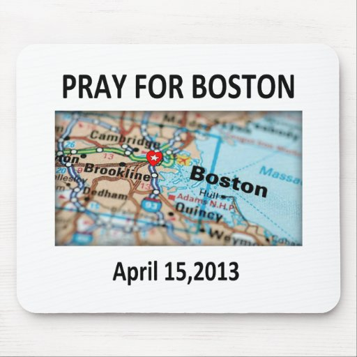 Pray For Boston Map Mouse Pads