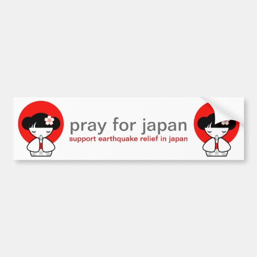 Pray for Japan Kokeshi Doll Bumper Stickers