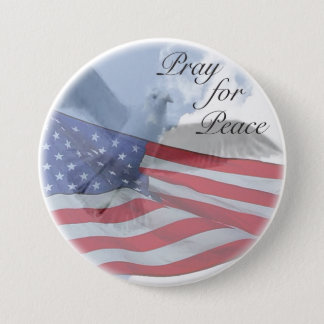 PRAY FOR PEACE With Dove and Flag Button