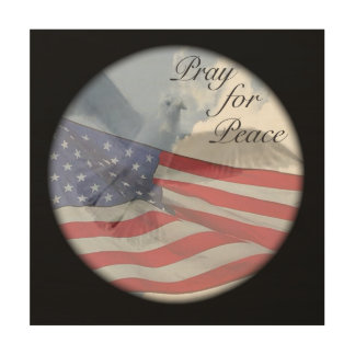 PRAY FOR PEACE With Dove and Flag Wall Decoration