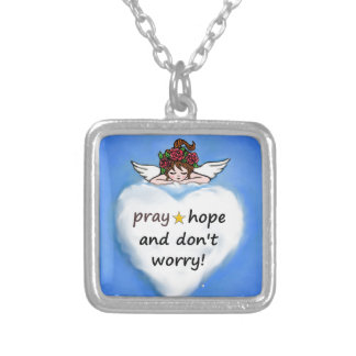 Pray, hope and don't worry! silver plated necklace
