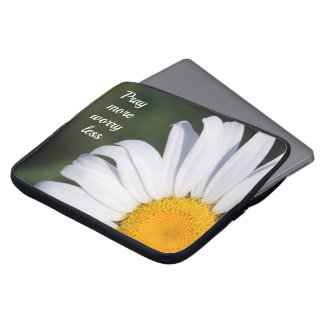 Pray More Worry Less Offset Daisy Laptop Sleeve