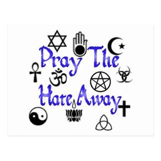 Pray The Hate Away postcard blue