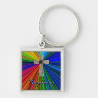 """""""pray today"""" Lord's prayer cross key fob Silver-Colored Square Key Ring"""