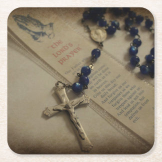 Prayer and Rosary Square Paper Coaster