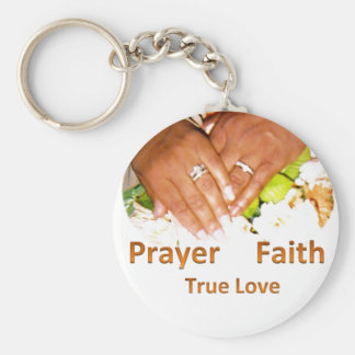 Prayer Faith True Love Basic Round Button Key Ring
