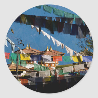 Prayer flags and chortens classic round sticker
