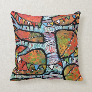 Prayer Flags and Twinkly Lights on Aspen Tree Cushion
