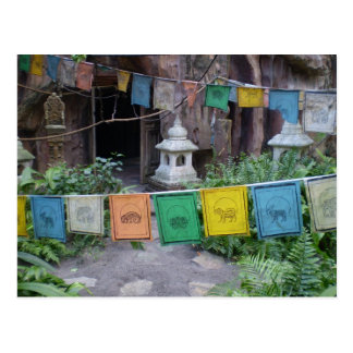 Prayer flags at temple postcard