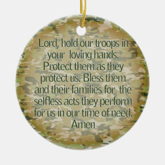 PRAYER FOR OUR SOLDIERS - US MILITARY CERAMIC ORNAMENT