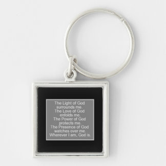 Prayer for protection Silver-Colored square key ring