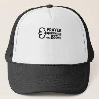 Prayer is the key to all doors trucker hat