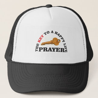 prayer key to happy life trucker hat
