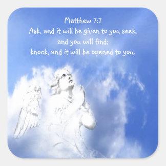 Prayer. Matthew 7:7 Scripture Verse with Angel Sky Square Sticker