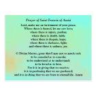 Prayer of Saint Francis of Assisi Postcard