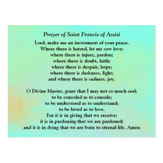 Prayer of Saint Francis of Assisi Postcard