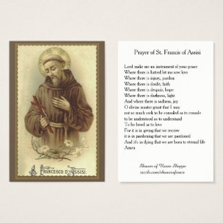 Prayer of St. Francis of Assisi Holy Business Card