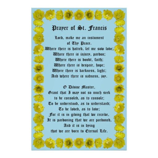 Prayer of St Francis with Prickly Pear Border Poster