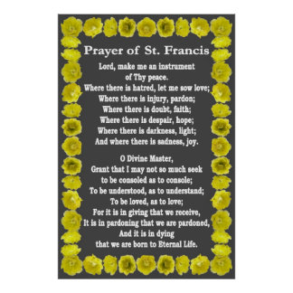 Prayer of St Francis with Prickly Pear Border Print