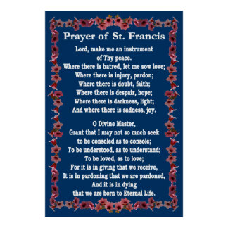 Prayer of St Francis with Tree Bell Border Poster