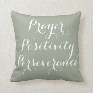 Prayer, Positivity, Perseverance Typography Pillow