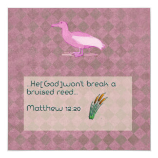 Prayer scripture card with pink albatross 13 cm x 13 cm square invitation card