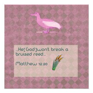 Prayer scripture card with pink albatross custom invitation