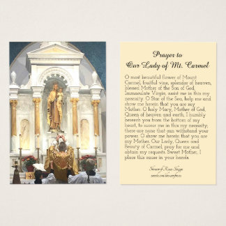 Prayer to Our Lady of Mount Carmel Holy Card