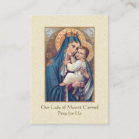 Prayer to Our Lady of Mount Carmel Holy Cards