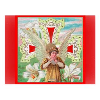 Praying Angel Cross & White Lilies Postcard