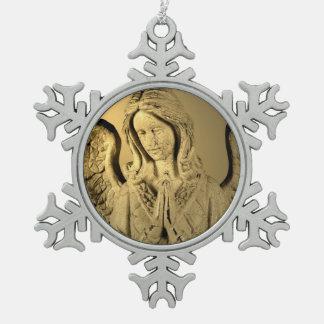 Praying Angel Pewter Snowflake Decoration