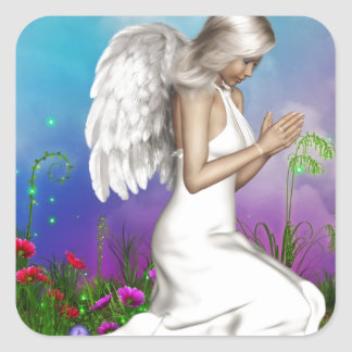 Praying Angel Square Sticker