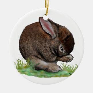 Praying Bunny Ceramic Ornament